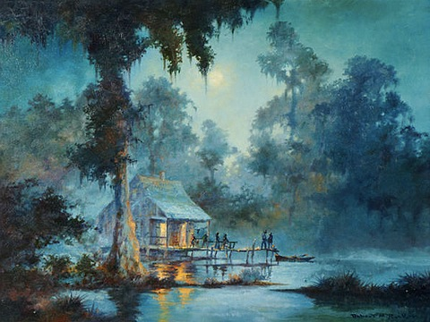 Bayou Shack by Moonlight by Robert Rucker (1932-2001)